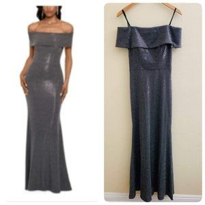 Betsy & Adam Off-the-Shoulder Metallic Gown Silver